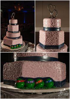 Coolest wedding cake ever! Teenage Mutant Ninja Turtles peeking out :) | Lynca Harvey Photography