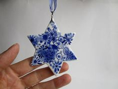 Delft Star Christmas Tree Ornament Hand painted Blue and