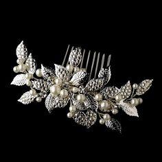 Silver-Ivory Rhinestone & Pealr Vintage Bridal Comb 599