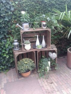 Leuk voor in de tuin! Oude fruitkisten gekocht en wat ascesoires!