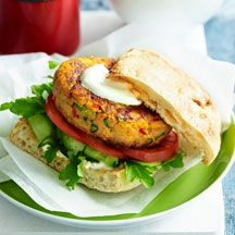 Sweet potato and tempeh burgers Omit the yogurt, use an egg as binder