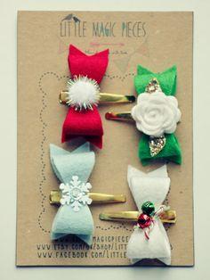 Christmas Little Bows Hair Clip Set by Little Magic Pieces