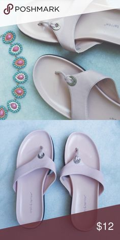 ✨Sandals✨ 💎ask me if you need to see more photos of the item! 💎use offer button to negotiate, most of my prices are flexible   Description: The lighting is off in the first photo. The second photo is an accurate shade of the shoe. They are in perfect shape and very comfortable for the beach or shopping. Shoes Sandals