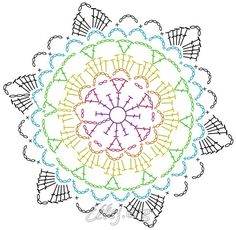 Patterns and motifs: Crocheted motif no.Crochet pattern for scarves, blouses, blankets . Motif Mandala Crochet, Crochet Snowflake Pattern, Crochet Mandala Pattern, Crochet Circles, Crochet Snowflakes, Crochet Diagram, Crochet Chart, Crochet Squares, Crochet Stitches