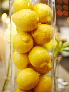 lemon vases for lemonade decor area Lemon Centerpieces, Simple Centerpieces, Centerpiece Decorations, Vases Decor, Lemon Vase, Lemon Bowl, Italy Party Theme, Lemon Pictures, Lemon Head