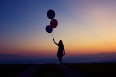 balloon, heliumballoon, shooting, photography, silhouette, girl, dress, sunrise, sunset,