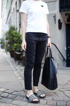 Trini   Isabel Marant Etoile jeans - Comme des Garçons PLAY tshirt - Adidas Adilette slides - Céline cabas bag