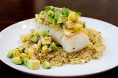 Pan roasted fish with avocado pineapple salsa. Soooo good on any white fish, I add strawberries and sometimes mangoes to the salsa for color. Yum!