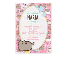 Pusheen The Cat Party Digital Invitation by PersonalizedDesign