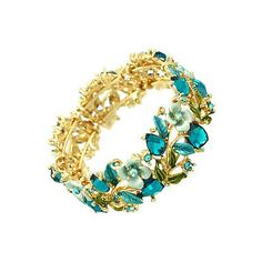 Vintage floral bangle in bright gold and turquoise (87 BAM) ❤ liked on Polyvore featuring jewelry, bracelets, vintage antique jewelry, gold bracelet bangle, gold hinged bracelet, vintage jewelry and gold bangles