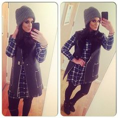 Wrapped up: Vicky Pattison wears a plaid shirt dress with a grey beanie for a trip to Manchester on Boxing Day