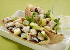 Maple Chicken Salad Pita- This healthy version of chicken salad replaces the mayonnaise with Greek yogurt for an extra protein boost to aid quick muscle recovery. The apple, dried cranberries and maple syrup add great flavor accents and help replenish the body's carbohydrates.