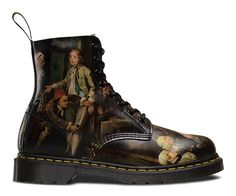 This season, Dr Martens have collaborated with Sir John Soane's Museum on Hogarth's most famous series 'A Rakes Progress' to create a unique collection. Made with Softy T Leather, the 1460 depicts scenes across the quarter panels and toe areas. Dr Martens 1460, Dr. Martens, Dm Boots, Combat Boots, Shoe Boots, Dream Shoes, Crazy Shoes, Me Too Shoes, William Hogarth