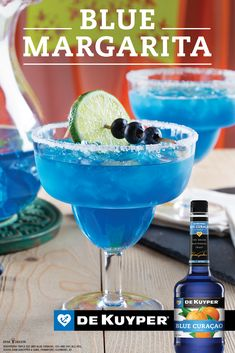 Plus up your margarita with a touch of tropical flavor and a pop of color! Take Sauza® Signature Blue Silver Tequila, which brings 100 agave goodness to th Curacao Azul, Blue Curacao Drinks, Tequila Drinks, Bar Drinks, Cocktail Drinks, Alcoholic Drinks, Beverages, Azul Margarita, Tequila Recipe