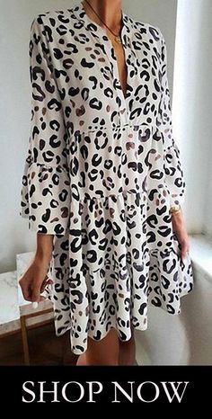 2834 Leopard Long Sleeves Straight Over Knee Freizeitkleider VeryVoga Casual Dresses, Fashion Dresses, Summer Dresses, Floral Dress Outfits, Lace Dresses, Casual Chic Style, Mode Inspiration, Ruffle Dress, Types Of Sleeves