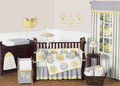 Yellow, Gray and White Mod Garden Girls Window Valance