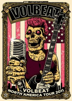 "Volbeat  ""2011 North America Summer Tour Poster Contest by Pablo Lizardi, via Behance"
