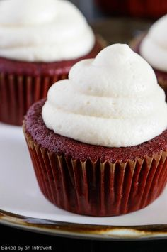 Red Velvet Cupcakes Recipe. These cupcakes would make a wonderful Christmas Dessert. Made with chocolate, vanilla, and cream cheese frosting!