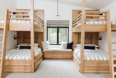 Cabin on the Lake Simple and beautiful bunk roomYou can find Bunk rooms and more on our website.Cabin on the Lake Simple and beautiful bunk room Bunk Bed Rooms, Bunk Beds Built In, Modern Bunk Beds, Kids Bunk Beds, Cabin Bunk Beds, Best Bunk Beds, Bunk Bed Decor, Four Bunk Beds, House Bunk Bed