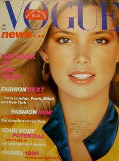 Kelly Emberg by Patrick Demarchelier Vogue UK January 1980 Vogue Magazine Covers, Fashion Magazine Cover, Fashion Cover, Vogue Covers, Fashion Now, Vogue Fashion, Fashion Models, High Fashion, Moda 80s