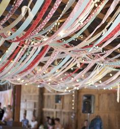 string ribbons and lights from the ceiling - www.lovelucygirl.com