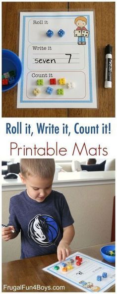 A printable roll it, write it and count it! A fun hands-on way to work on math with preschool and kindergarten kids!