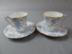 Lovely Vintage Pair Royal Grafton Demitasse Cups and Saucers, Circa 1970s by SlyfieldandSime on Etsy