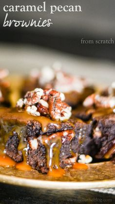 loaded Caramel and Pecan Brownies (from scratch)  (we love using this recipe for brownies from scratch - leave out the caramel and pecan and you have a great gooey brownie recipe)