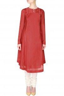 Red Layered Kurta With Thread Work Ladder Trim Detailing shopnow #newcollection #contemporary #slohdesigns #happyshopping #kurta #clothing
