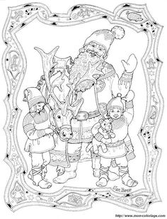 santa and his elves jan brett christmas coloring pages
