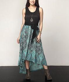 Another great find on #zulily! Aqua Paisley Tie-Waist Hi-Low Maxi Dress - Plus #zulilyfinds