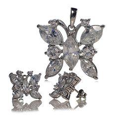 Srebrny komplet - kolczyki i wisiorek - z cyrkoniami