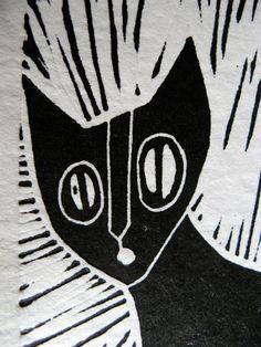 Cat linocut by MAYOillustrations on Etsy, $27.50