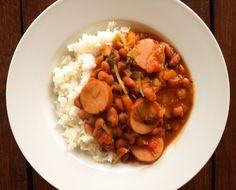 Simpele bruine bonen met rijst