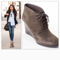 """NEW Franco Sarto Weston Wedge Bootie New Franco Sarto taupe suede lace up wedge bootie. Approximate heel height is 4"""". Smooth wedge heel and rubber bottom for good grip. Great paired with skinnies or a skirt. SOLD OUT in retail. Franco Sarto Shoes Ankle Boots & Booties"""