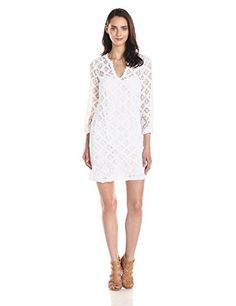 Cool Trina Turk Women's Clair Lace Dress V-neck dress in crocheted lace featuring three-quarter sleeves and medallion trim at collar Tonal lining at skirt and bodice