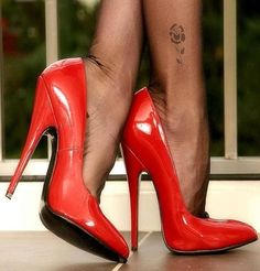 Large fitting sexy red shoes with stiletto heels Black High Heels, High Heels Stilettos, High Heel Boots, Stiletto Heels, Nylons Heels, Stockings Heels, Hot Heels, Talons Sexy, Extreme High Heels