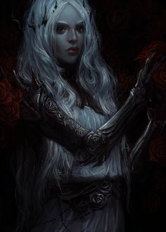 Female drow in some kind of plate armor (harness). Possible fighter, cleric, or Menzoberanzan house mother.