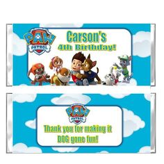 Paw Patrol candy Bar party favors