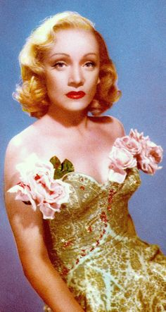 MARLENE DIETRICH in colour from Preview Hollywood & London Picture Parade Annual 1954. (please follow minkshmink on pinterest) #marlenedietrich #fifties