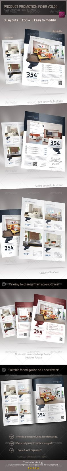 Product Promotion Flyer Template #GraphicRiver This Product Promotion Flyer Template is designed to be used to promote furniture and interior design but it can be useful for multiple product categories such as: fashion accessories, electronics and so on. You can find many other possible uses. The package includes files for CS3, CS4 and CS5 version of InDesign. All the elements in the design such as text, colours, styles and images can b