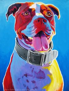 Colorful Pet Portrait Pit Bull Art Dog Print 8x10 by dawgpainter, $14.00