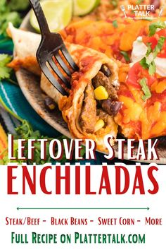 Learn how to use leftover steak or ground beef with this easy enchilada recipe from Platter Talk! Steak Enchiladas, Leftover Steak Recipes, Easy Enchilada Recipe, Kid Friendly Meals, Recipe Of The Day, Platter, Ground Beef, Easy Meals, Lunch