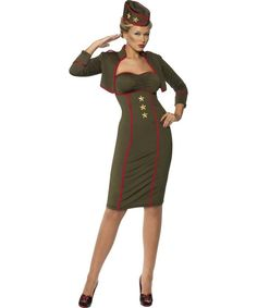 ADULT WOMENS ARMY COSTUME MILITARY UNIFORM FANCY DRESS