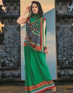 Buy #Green Fantasy #Crepe #Saree at Best Price for Rs.920/-