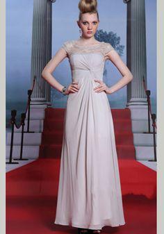 A line Scoop Floor Length Chiffon Empire Waist Evening Dress With Beading - 1300306165B - US$219.99 - BellasDress