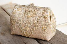 New Alencon Lace Silk Gold Purse / Wedding Bag / Bridesmaid