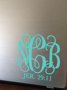 Bible Verse Monogram Vinyl Decal Sticker