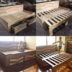 Converts to a full size king bed with 2 pull out d. Converts to a full size king bed with 2 pull out drawers to give you of storage for books, toys, and much much more. Built with a strong mahogany wood structure. Diy Bett, Diy Holz, Remodeled Campers, Murphy Bed, Bedroom Bed, Bedroom Headboards, Wood Bedroom, Old Wood, Home Decor Ideas