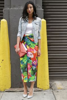 floral skirt, denim jacket, basic tank